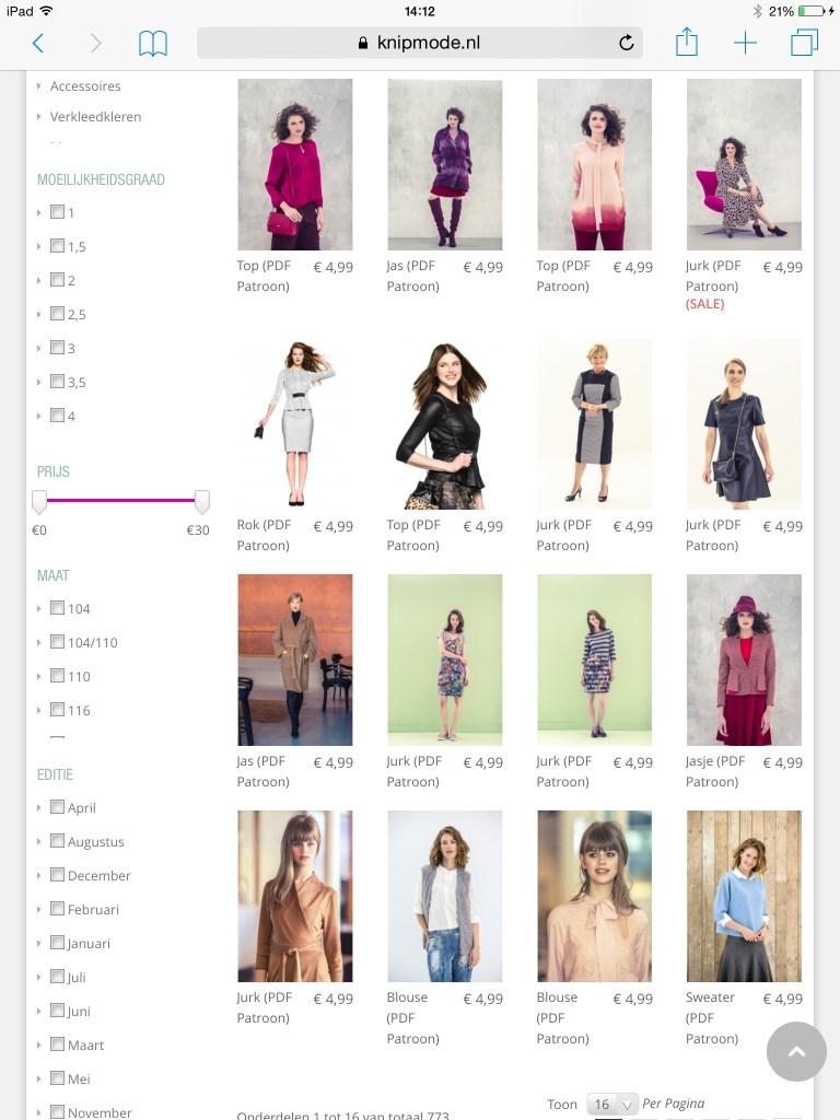 Knipmode pattern shop