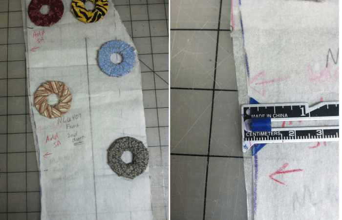 Comparison of CF pattern pieces
