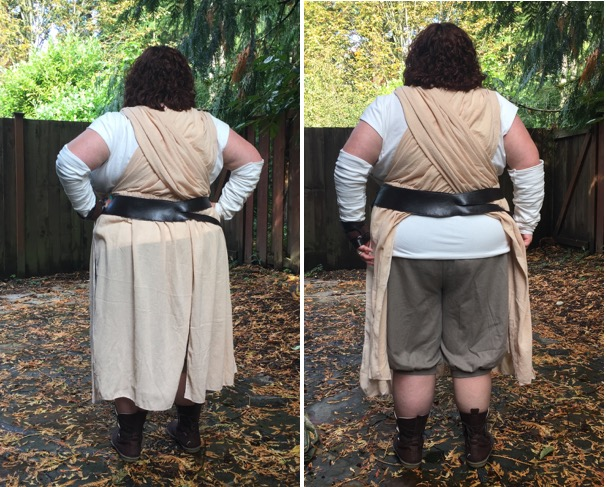 M7421 - With the drape hanging naturally (left) and pulled to the side to show the pants (right).