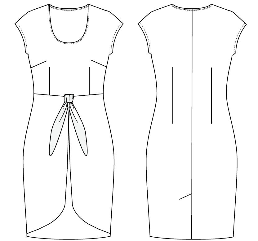 Jenny dress line drawing