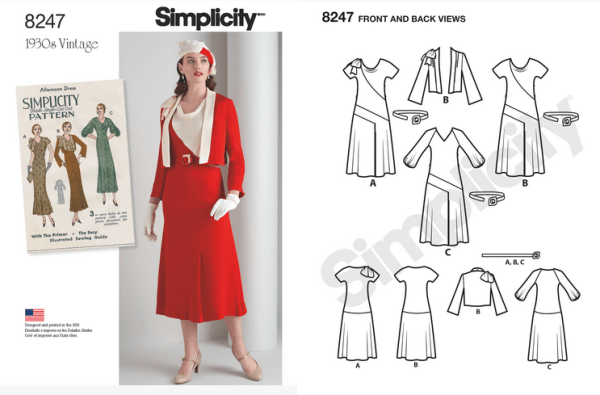 Simplicity 8247 - Misses' 1930s Dress and Jacket