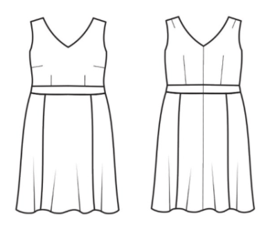 Cashmerette Upton Dress - line drawing