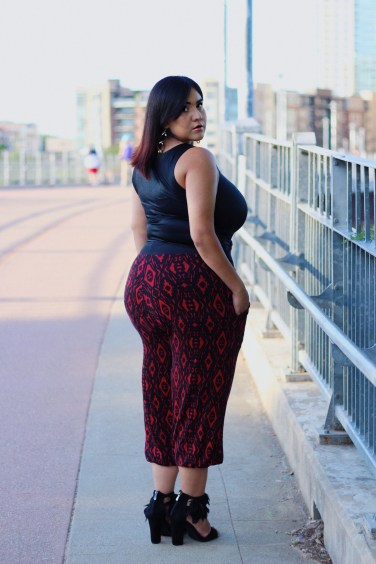 Wearing: Black & Red Aztec Print Circus Pants by Artista Apparel