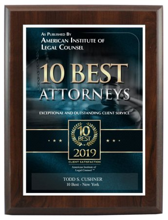 AIOBA 10 Best Bankruptcy Attorney plaque - Todd Cushner