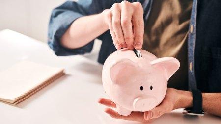 putting coin into a piggy bank