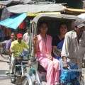 Getting around in Varanasi by cycle rickshaws