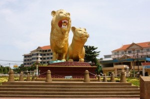 Golden Lions Monument in Sihanoukville