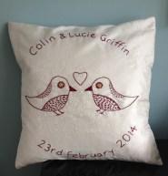 tweet tweet - burgundy hand embroidery on ivory silk
