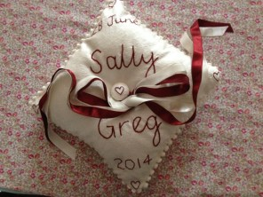 ring ring - silk wedding cushion with hand embroidery, hand covered button and satin ribbons