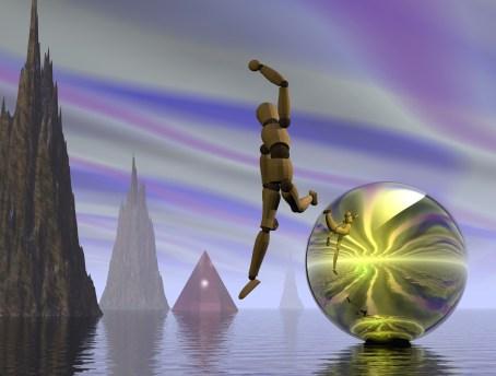 Manikin leaping from reflective sphere in fantastic landscape
