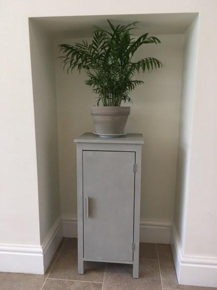 Narrow cupboard painted in Paris Grey