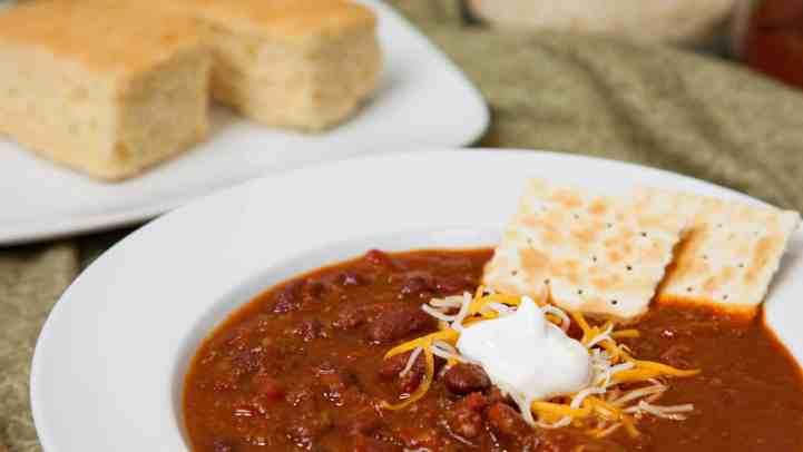 Enjoy chili soup with cornbread.
