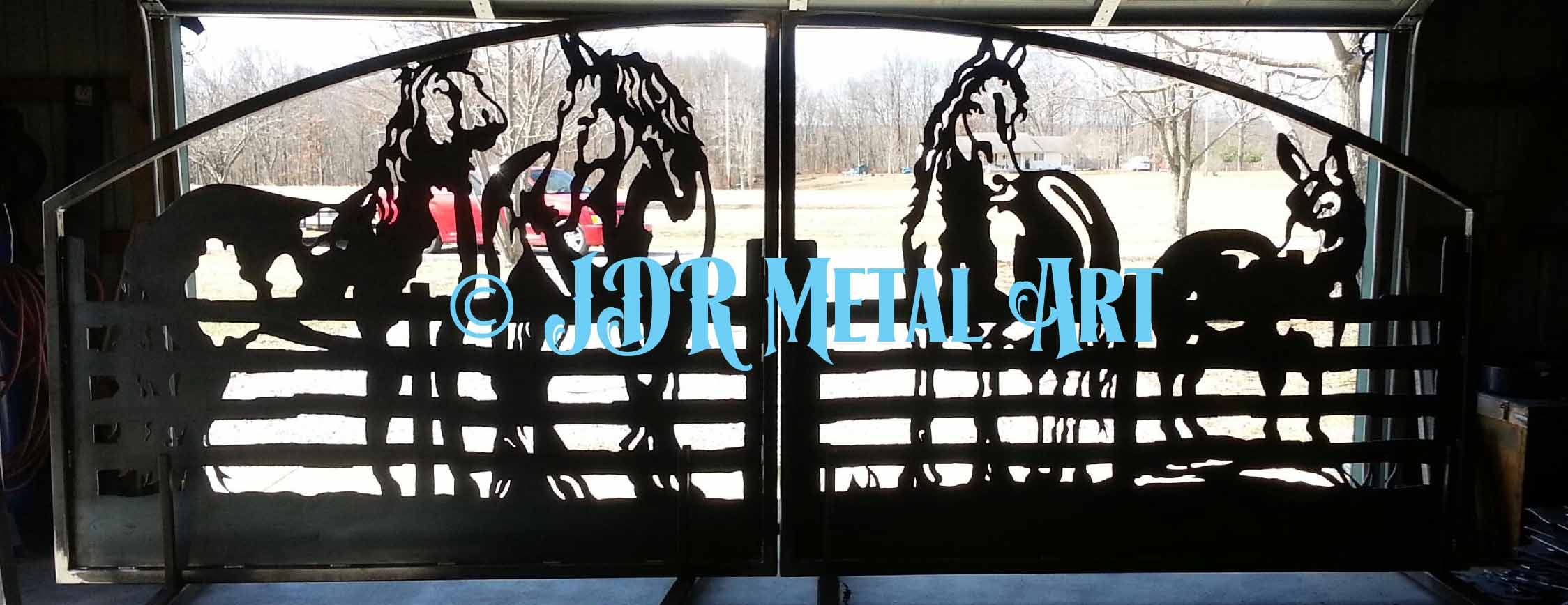Design elements plasma cutting custom design plasma cutting artistic - Decorative Driveway Gate With Metal Silhouette Of Four Horses At Fence Here Is A Custom Designed