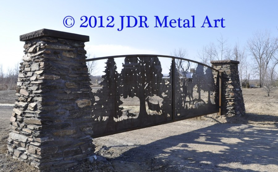 Illinois artist metal entry gates with deer and fox silhouettes plasma cut by JDR Metal Art.