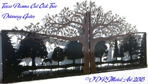 Texas-Driveway-Gates-with-custom-designed-and-plasma-cut-Oak-trees-horse-dog-mule-by-JDR-Metal-Art-2