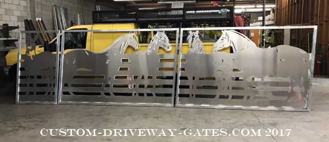 Sloped or racked driveway gate for sloped or inclined driveway entrance.