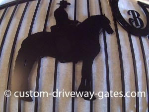 Friesian horse driveway gate design made from aluminum and powder coated.