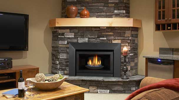 Frameless Gas Fireplace Insert On Custom Fireplace