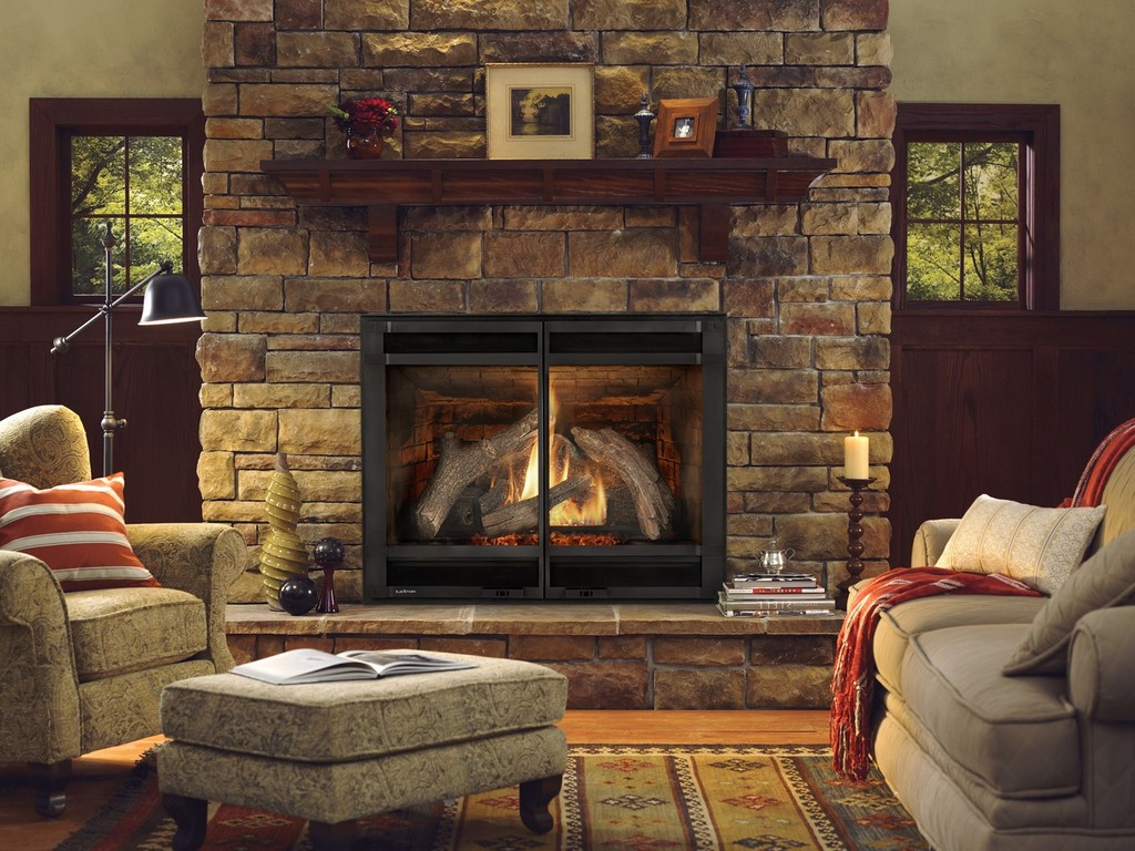 Ventless Natural Gas Fireplace On Custom Fireplace