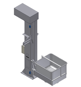 """Column Lifts Stainless Steel Construction 36"""" to 30'-0"""" dump height Chain or Ball Screw Drive Designed For Floor Level Loading up to +600 lb. Capacity Standard Receivers: V-Mags, Meat Buggy, Drum, Vat, Custom"""