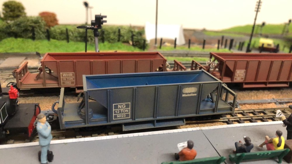 Weathered hopper wagons with decals by Custom Model Decals