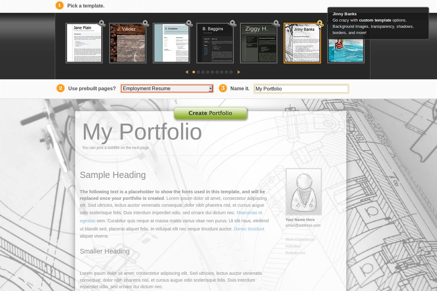 choosing the right template for your myfoliotek com