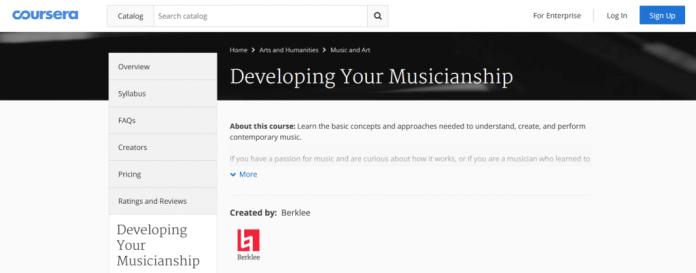 Developing your musicianship coursera website screenshot