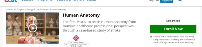Human anatomy course edx website screenshot
