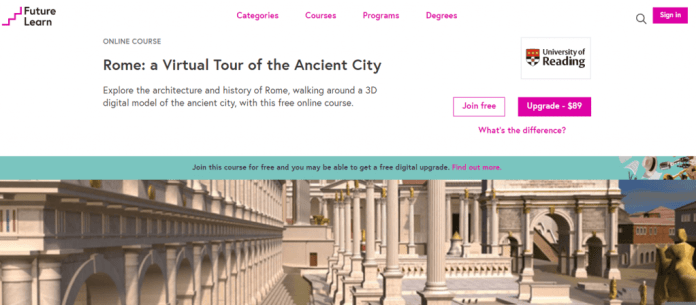 Rome a virtual tour of the ancient-city future learn website screenshot