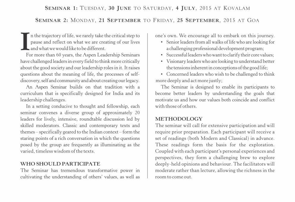 Aspen Seminar Brochure 2