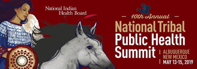 Native woman on horse. National Indian Health Board. 10th National Public Health Summit