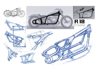 Der Doppelschleifen-Stahlrohrrahmen ist natürlich ebenso wie der Motor eine komplette Neukonstruktion. Die Dreiecksschwinge arbeitet mit einem direkt angelenkten Zentralfederbein mit verstellbarer Federvorspannung und bietet 90 Millimeter Federweg. Vom Lenkkopf bis zur Schwingenaufnahme ergibt sich eine schöne Gerade, die Starrrahmenoptik passt, der Radstand ist mit 1,73 Metern gewaltig