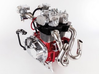 Red Punk: Gern verwendet Karl japanische Aggregate als Grundlage seiner Skulpturen, hier einen Honda-CB-Motor