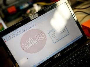Die Verbindung alter und neuer Techniken: Marcel hat das Logo mit Hilfe einer Software nachgebaut
