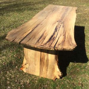 Magnolia wood dining table live natural edge