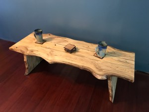 Magnolia wood coffee table bench live natural edge