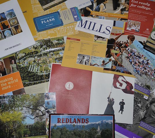 College Catalogs received in the mail
