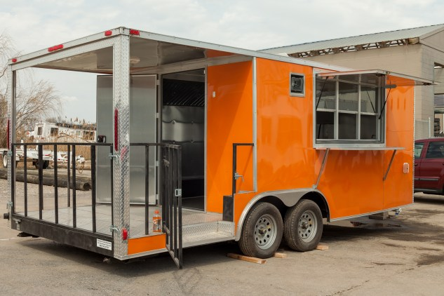 Custom Orange Large Food Trailer