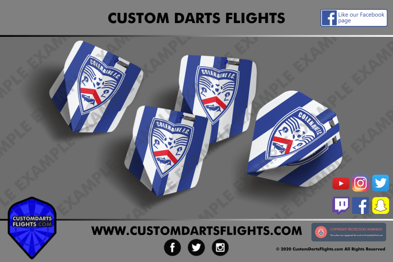 Coleraine Football custom darts flights