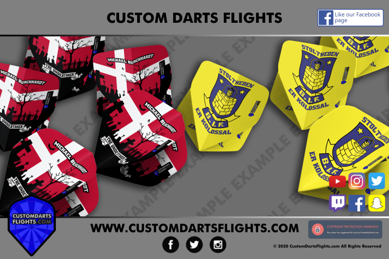 The Undertaker and Brondby inspired custom darts flights
