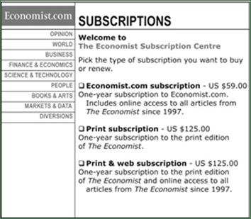 The Economist Subscription Options