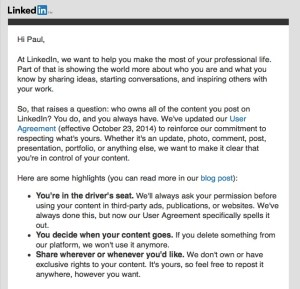 LinkedIn data notice