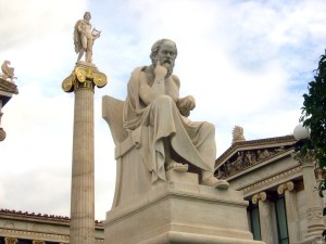 Statue of Socrates with the Apollo column in the background (work of Leonidas Drosis)