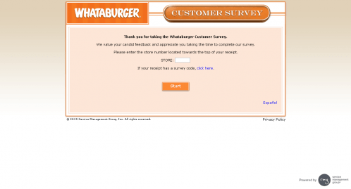 screenshot of whataburgetsurvey page store number