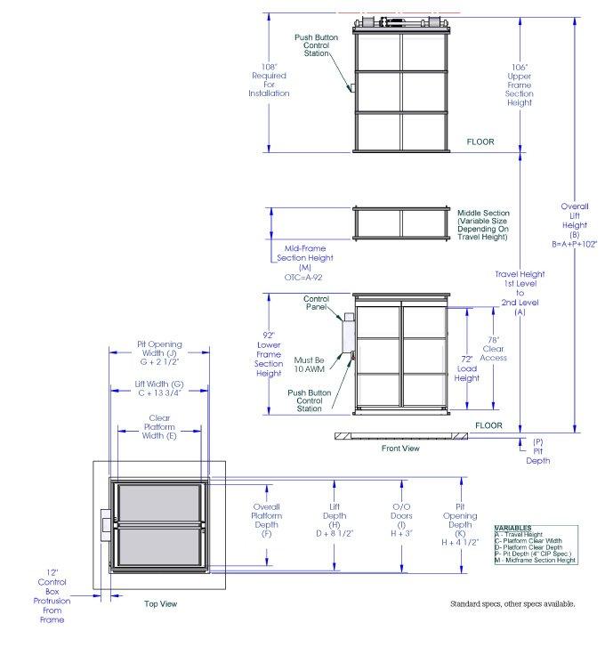 PM Series VRC pallet lift diagram (72 load)