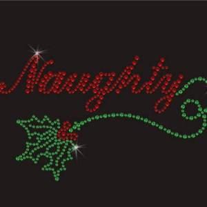 naughty christmas rhinestone transfer