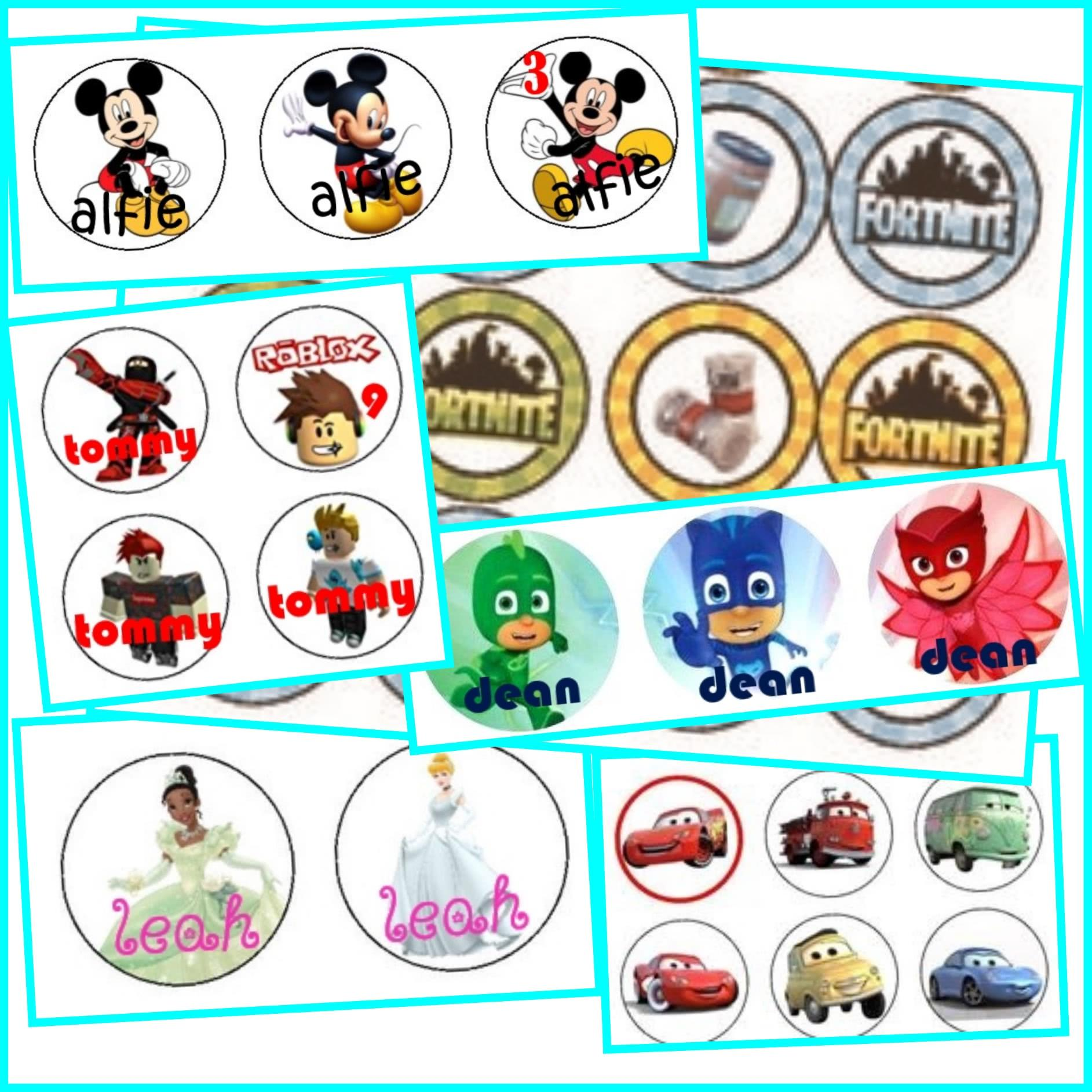 personalised cupcake toppers 6 printed or file