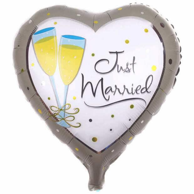 ",just married heart foil 18"" balloon"