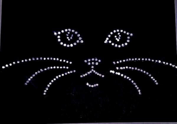 kitty cat face rhinestone transfer