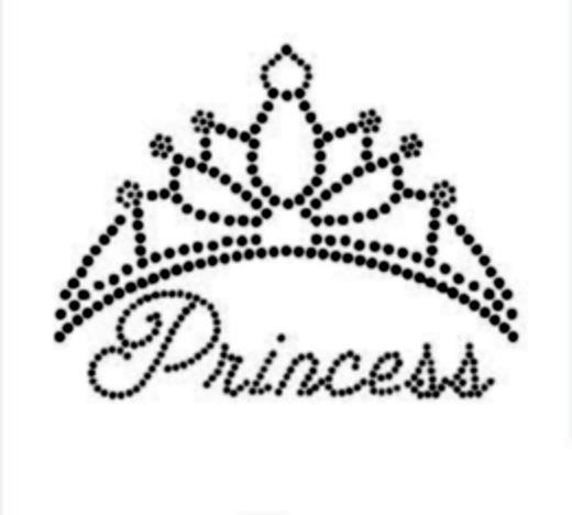 Disney font Princess crown rhinestone transfer
